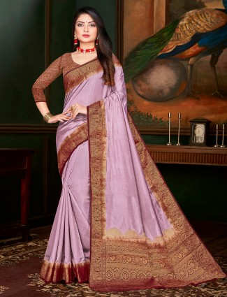 Violet festive wear cotton silk saree