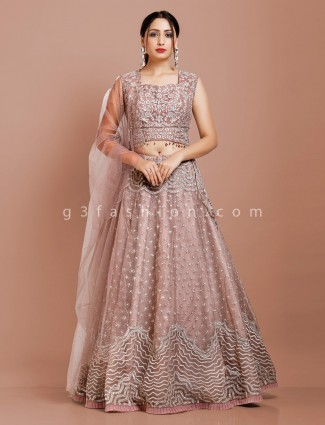 Violet lehenga choli in net for reception