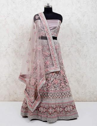 Violet net wedding function semi stitched lehenga choli