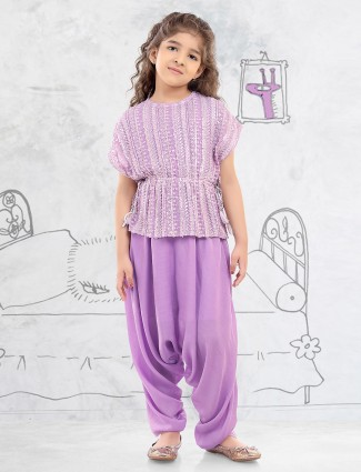Violet party wear peplum dhoti suit in georgette