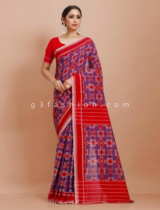 Violet red patola print pure mul cotton saree