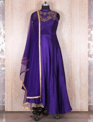 Violet silk designer suit
