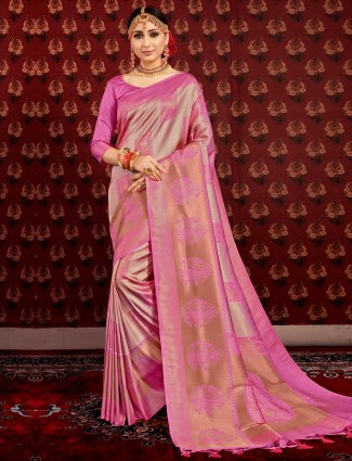Violet silk saree for wedding