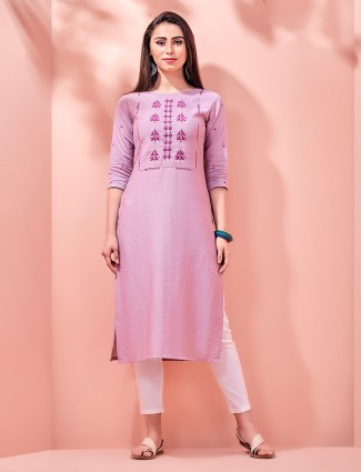 Violet sober kurti in cotton
