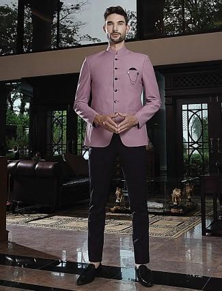 Violet terry rayon solid ethnic wear jodhpuri suit