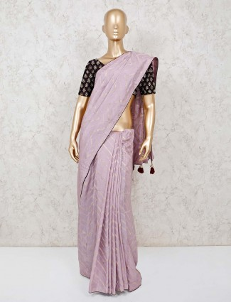 Violet zari weaving leheriya cotton silk saree