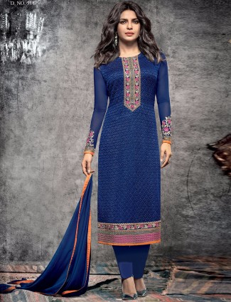 Viscoase blue semi stitched salwar suit