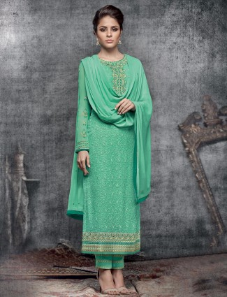 Viscoase green semi stitched salwar suit