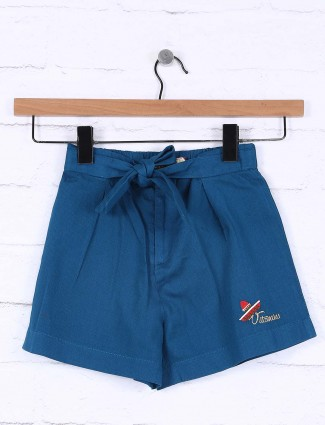 Vitamins blue color cotton casual shorts