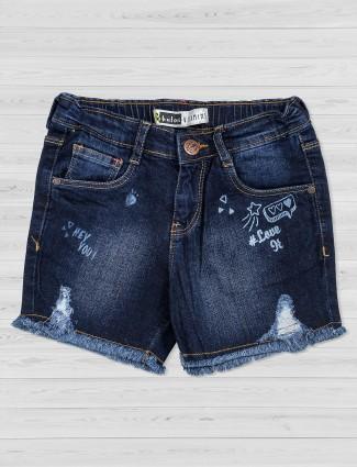 Vitamins dark blue ripped shorts