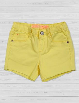 Vitamins denim yellow plain shorts