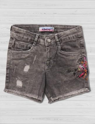 Vitamins dusty black ripped shorts