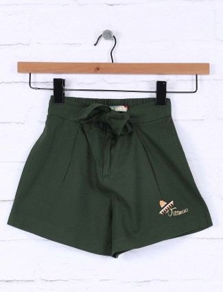 Vitamins green color casual cotton shorts