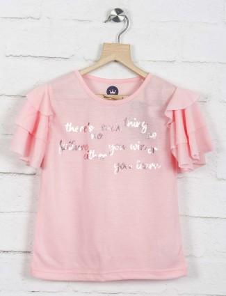Vitamins light pink cotton casual top