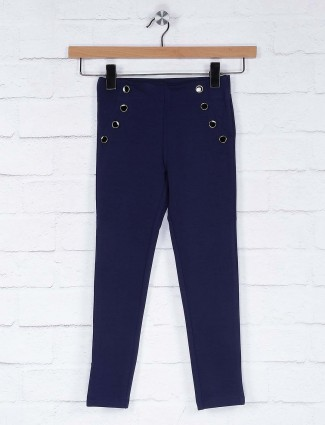 Vitamins navy blue casual wear solid jeggings