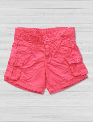 Vitamins pink casual plain shorts