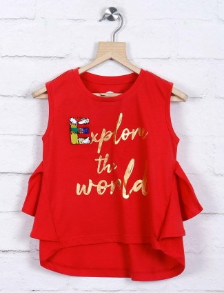 Vitamins red colored cotton top