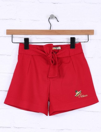 Vitamins red hue cotton casual shorts for girls