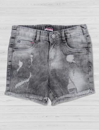 Vitamins ripped denim grey shorts