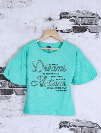 Vitamins sea green cotton fabric top