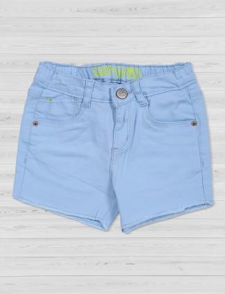 Vitamins vista blue plain denim shorts
