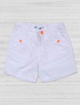 Vitamins white cotton shorts