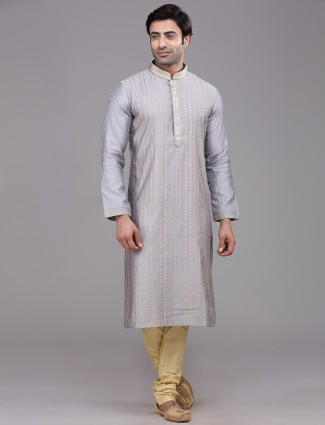 Voilet kurta suit in chanderi cotton