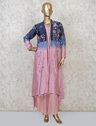 Voilet punjabi cotton palazzo suit for festive