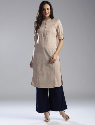 W beige cotton plain kurti