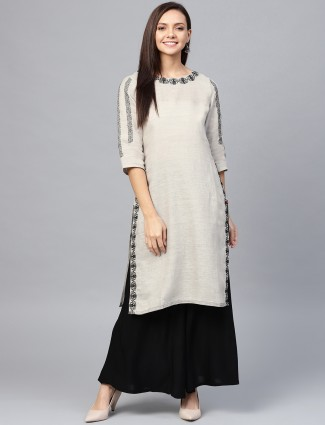 W beige hue round neck cotton kurti