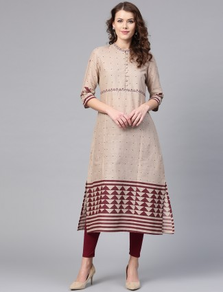 W beige printed pattern long kurti
