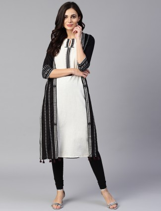 W black and white cotton casual kurti