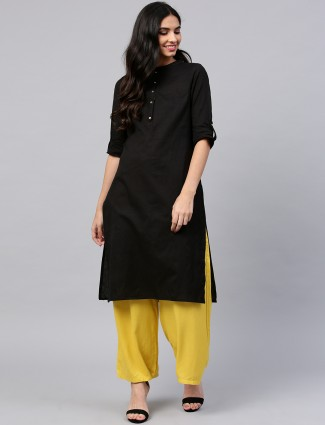 W black color cotton casual wear kurti