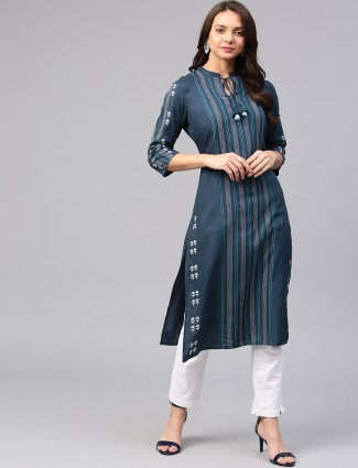 W blue color kurti for festive wear