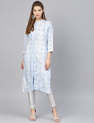 W blue hue cotton kurti