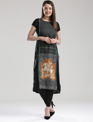 W cotton black printed casual wear kurti