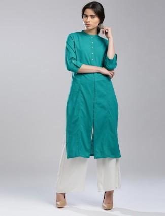 W cotton plain blue kurti