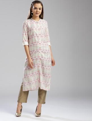 W Cream color printed kurti