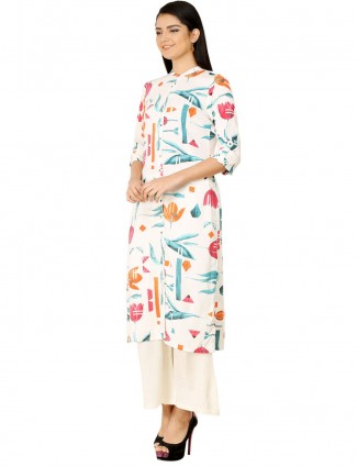 W cream printed casual cotton kurti