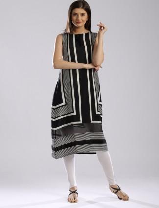 W crepe black casual wear printed kurti