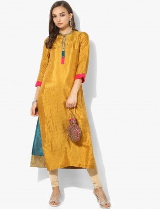 W golden hue long silk cotton kurti