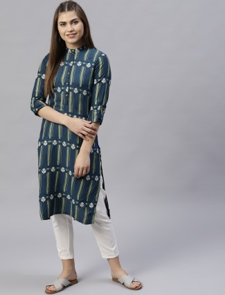 W gorgeous green cotton casual wear kurti