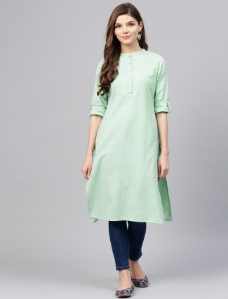 W green color cotton fabri kurti