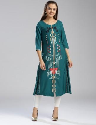 W Green cotton fabric kurti for casual wear