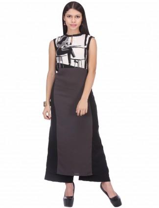 W grey printed casual wear crepe straight kurti