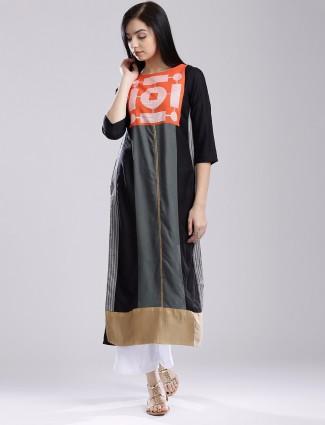 W grey printed cotton casual wear kurti
