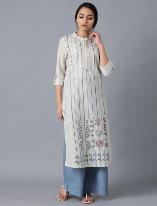 W Grey stripe cotton kurti