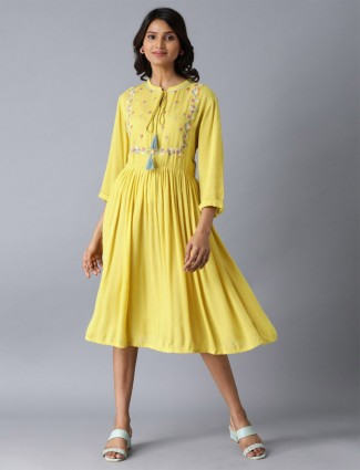 W latest yellow georgette kurti for casual wear