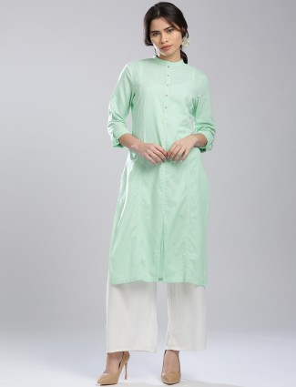 W light green color cotton casaul kurti
