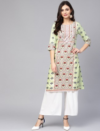 W light green cotton casual kurti